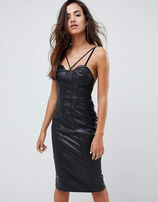 Asos Faux Leather Seamed Bandeau Midi Dress