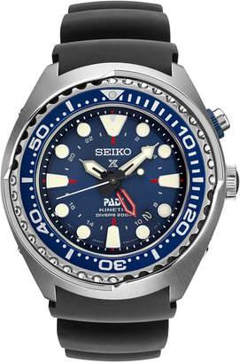Seiko Men's Prospex Kinetic Gmt Diver Padi Black Silicone Strap Watch 48mm SUN065