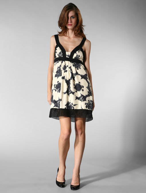 Graham & Spencer Printed Silk Twill Dress in Black/White Floral