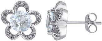 Laura Ashley 10k White Gold Aquamarine & Diamond Accent Flower Stud Earrings $1,825 thestylecure.com