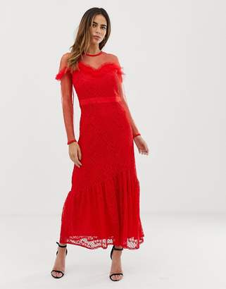 Liquorish maxi dress with lace overlay and ruffle detail