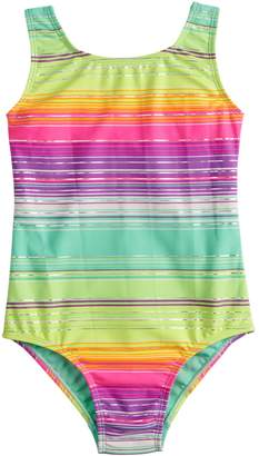 So Girls 4-16 SO Stripe Shimmer One-Piece Swimsuit