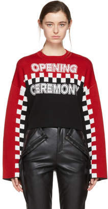 Opening Ceremony Red and Black Cropped Racer Intarsia Sweater