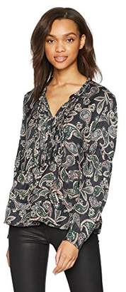 William Rast Women's Atwood Pintuck Tie Neck Printed Peasant Top