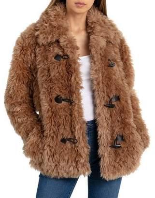 AVEC LES FILLES Toggle Teddy Faux-Fur Coat