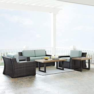 BeauFort Crosley Furniture Patio Loveseat, Arm Chair, Coffee Table & End Table 5-piece Set