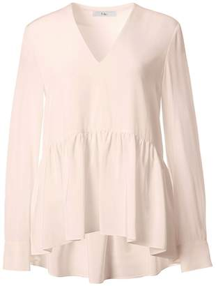 Tibi Silk Peplum Top in Blush