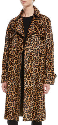 Michael Kors Leopard-Print Double-Breasted Haircalf Trench Coat