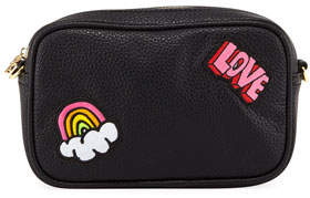 Stoney Clover Lane Pebbled Faux-Leather Patches Camera Bag, Black