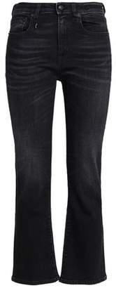 R 13 Faded High-Rise Flared Jeans
