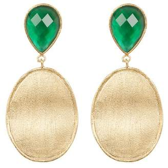 Rivka Friedman Faceted Emerald Crystal Mother of Pearl Doublet & Satin Wavy Oval Drop Earrings