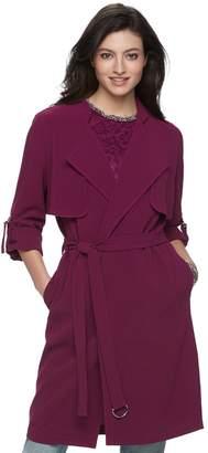 JLO by Jennifer Lopez Women's Draped Trench Coat