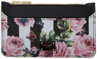 Dolce & Gabbana Black Stripes and Floral Card Holder