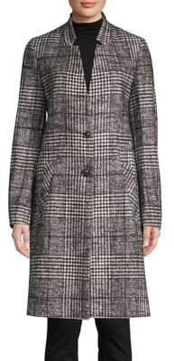 HUGO Houndstooth Long-Sleeve Coat