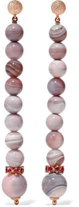 Carolina Bucci Recharmed 18-karat Rose Gold, Sunset Stone And Ruby Earrings