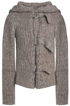 See by Chloe Marled Ribbed-Knit Hooded Cardigan