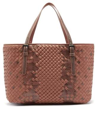 Bottega Veneta Intrecciato Medium Leather & Snakeskin Tote Bag - Womens - Nude