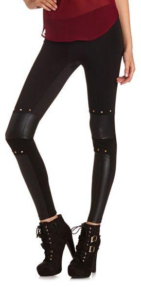 Charlotte Russe Pieced PU Studded Legging