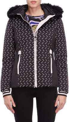 Versace Black Embroidered Real Fur Trim Down Coat