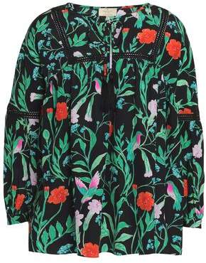 Kate Spade Crochet-trimmed Floral-print Silk Blouse