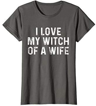 Womens I Love My Witch Of A Wife | Funny Halloween Couples Shirt Medium