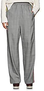 Calvin Klein Women's Embellished Glen Plaid Wool Track Pants-Black White Light Sky