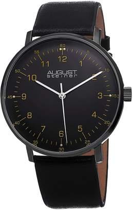 August Steiner Men's Stainless Steel & Black Leather Watch, 44mm