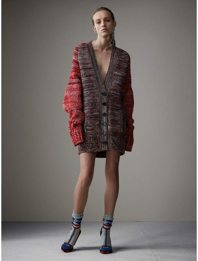 Burberry Cashmere Wool Blend Mouliné Oversized Cardigan