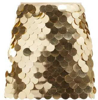 Sara Battaglia Sequinned Mini Skirt - Womens - Gold