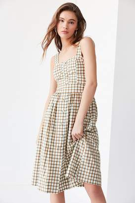J.o.a. Button-Down Plaid Midi Dress