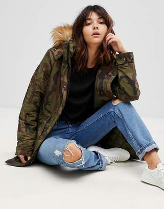 Only Camo Parka With Faux Fur Lining