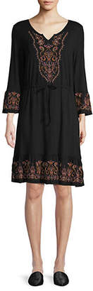 Style&Co. STYLE & CO. Embroidered Three-Quarter-Sleeve Dress