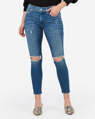 Express Mid Rise Medium Wash Ripped Cropped Jean Leggings