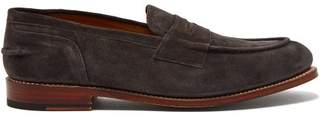 Grenson Maxwell Suede Penny Loafers - Mens - Grey