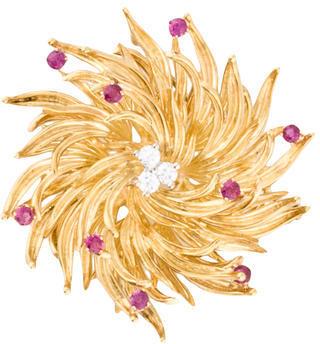 Tiffany & Co. 18K Diamond and Ruby Wreath Brooch $3,475 thestylecure.com