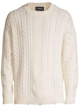 The Kooples Distressed Cable Knit Wool& Cashmere Sweater