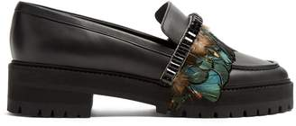 Rochas Feather-trimmed leather loafers