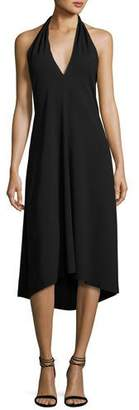 Theory Araci Rosina Crepe V-Neck Halter Midi Dress, Black