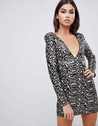 Club L sequin dress in grey leopard
