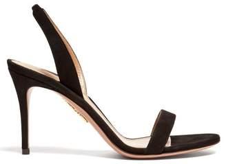 Aquazzura So Nude 85 Slingback Suede Sandals - Womens - Black