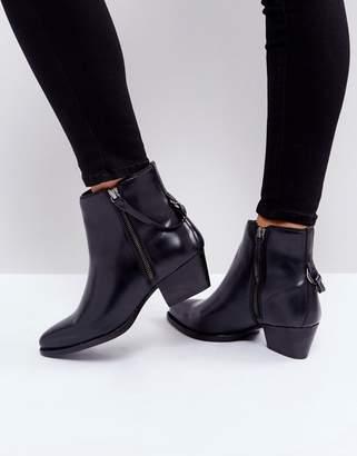 Hudson London Larry Black Leather Ankle Boots