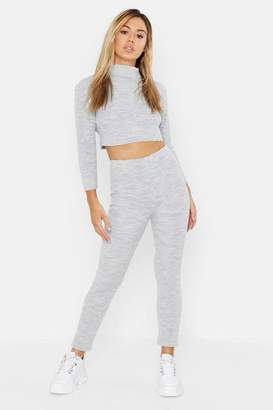 boohoo Petite Roll Neck and Legging Knitted Loungewear Set