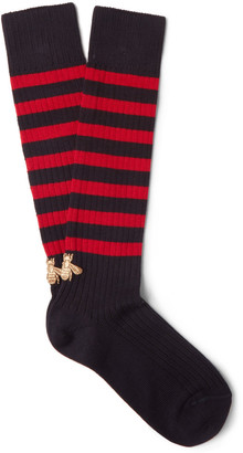 Gucci Embroidered Striped Stretch Cotton-Blend Socks $155 thestylecure.com