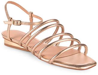 Halston Leandra Metallic Leather Ankle Strap Sandal