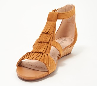 09ae10d6aec8 Clarks Collection Suede Fringe Wedges - Abigail Sun