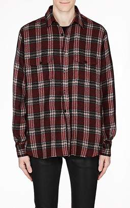 Saint Laurent Men's Check Wool-Blend Gauze Oversized Shirt