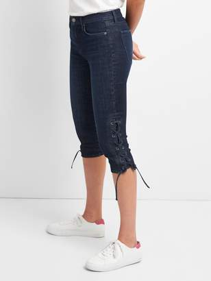 Gap Mid Rise Super Crop Jeans with Lace-Up Detail