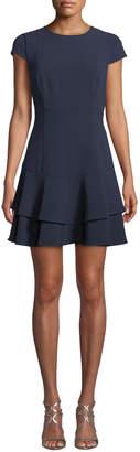 Eliza J Cap-Sleeve Flounce-Hem Dress