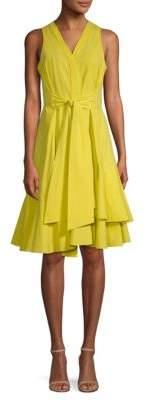Natori Cotton Poplin Tie-Front A-Line Dress