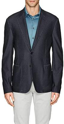 Giorgio Armani MEN'S HERRINGBONE MESH-KNIT TWO-BUTTON SPORTCOAT - GRAY SIZE 42